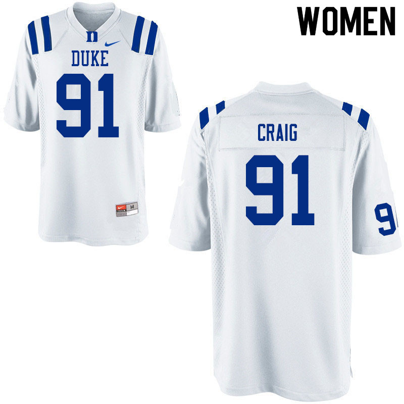 Women #91 Ahmad Craig Duke White Devils College Football Jerseys Sale-White
